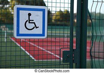 accesso, carrozzella, tennis, barrier-free, corti