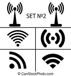 accesso, differente, set, remoto, eps10, icone, via, comunicazione, wifi, illustrazione, fili, vettore, nero, radio, 2., quattordici, waves.