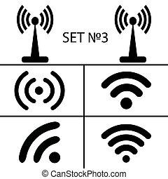 accesso, differente, set, remoto, eps10, icone, via, comunicazione, wifi, illustrazione, fili, vettore, nero, 3., radio, quattordici, waves.