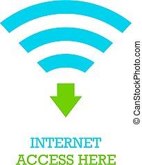 accesso, vettore, icona internet