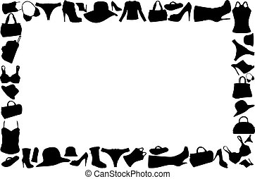 accessoire, cadre, vecteur, illustration, femme
