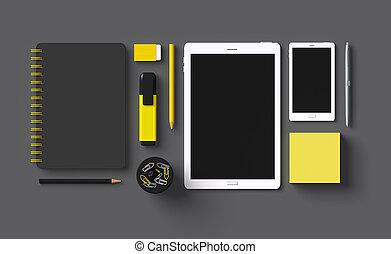 accessoire, donker, grijze , kantoorartikelen, 3d, set
