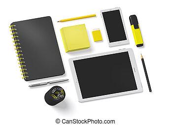 accessoire, witte , kantoorartikelen, 3d, set