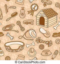 accessoires, brun, chiens, seamless, modèle