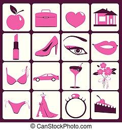 accessoires, femme, isolé, blanc
