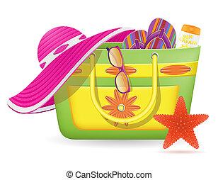 accessoires, illustration, sac, vecteur, femme, plage