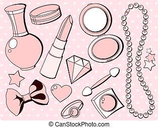 accessoires, mode, schattig
