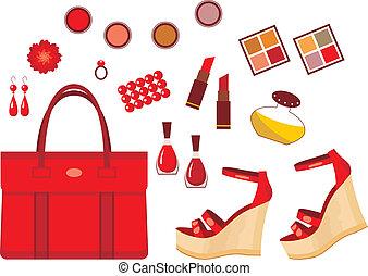 accessoires, rood, set