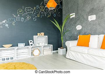 accessoires, salle de séjour, lumière jaune