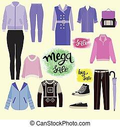 accessoirs, mode, set., ikone, kleidung
