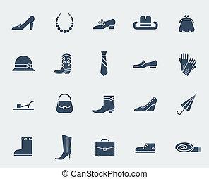 accessori, isolato, scarpe bianche, icone
