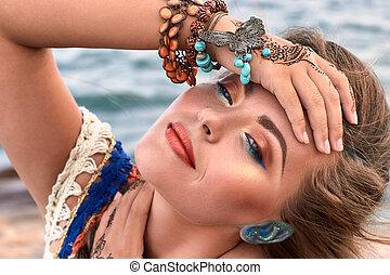 accessori, trucco, spiaggia, bello, estate, luminoso, mehendi, vestiti, ragazza