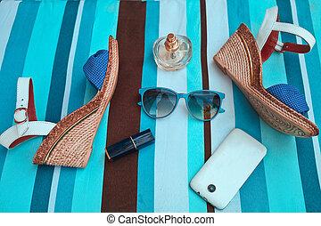 accessories., été, concept, femme, mode