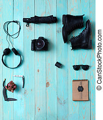 accessories., セット, コラージュ, 女性, 人