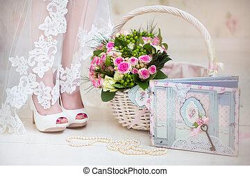 accessories., 線, 她, 花束, 珍珠, 早晨, day., 新娘, basket., bride., ...