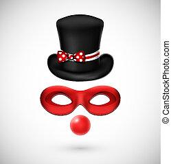 Accessories a clown (hat, mask and, red nose). Eps 10
