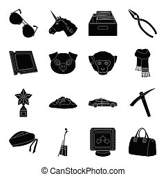 accessories, bag, mine and other web icon in black style.library, animal, computer icons in set collection.