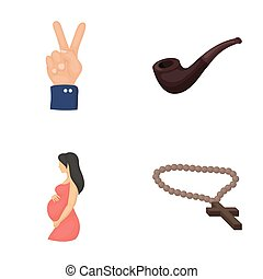 accessories, business, medicine and other web icon in cartoon style., gynecology, cross, rosary, icons in set collection.