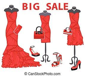 accessories., coctail, venta, tres, vestidos, rojo, grande