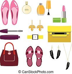 accessories., elegante, set, donne
