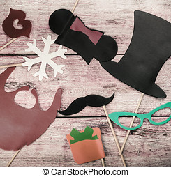 accessories for a fun holiday of paper fashion, lips, mustaches