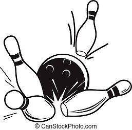 Accessories for bowling - Vector black and white ...