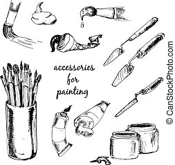 Accessories for painting. Collection of hand drawn...