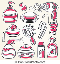 accessories for personal hygiene. - Vector series of design...