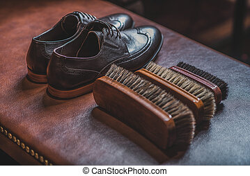 accessories for shoe shining with a pair of brogues - pair...