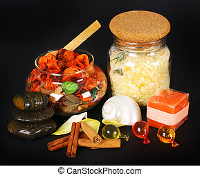 Accessories for spa with salt bath, cinnamon and stones