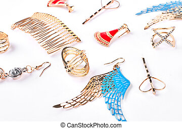 accessories., gyllene, kvinna, fashionabel