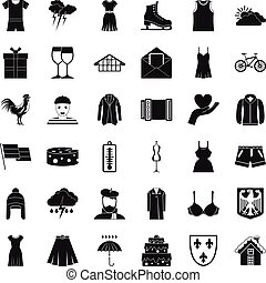 Accessories icons set, simple style