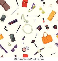 accessories., itens, padrão, seamless, mulheres