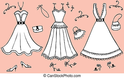 accessories., jurkje, vrouw, vector, illustratie