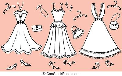 accessories., klänning, kvinna, vektor, illustration