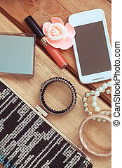 accessories on a wooden background