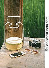 Accessories on wooden desk background