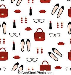 accessories., padrão, mulher, moda, seamless