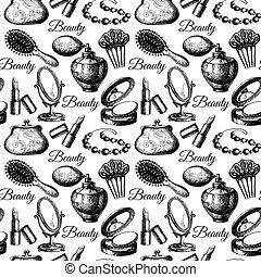 accessories., pattern., seamless, schoenheit, kosmetisch