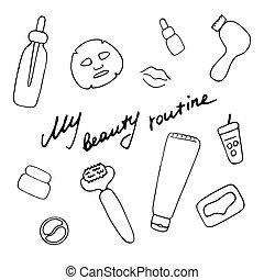 accessories., routine., main, graphique, cosmétique, vecteur, beauté, icônes, dessiné, numérique, produits, print., mon