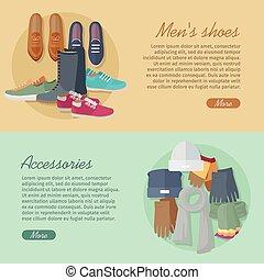 accessories., scarpe, collection., uomini, autunno, s, inverno