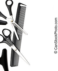 accessories - Scissors and Comb for hair isolated on white