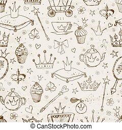 accessories., seamless, bakgrund, prinsessa