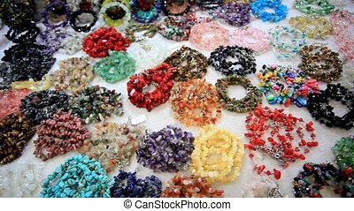 Accessories shop with beads, bracelet. HD. 1920x1080 -...