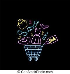 accessories., shopping, bandiera, venerdì, neon, donne, sale., nero, pubblicità, cesto, abbigliamento