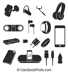 Accessories, Supplies for mobile phones silhouette icons