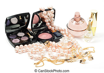 Cosmetic, jewelry and perfumes on white background