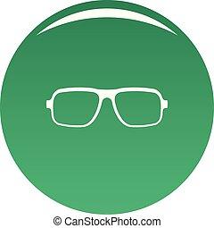 Accessory eyeglasses icon vector green