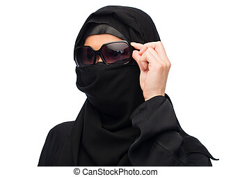 muslim woman in hijab and sunglasses over white - accessory,...