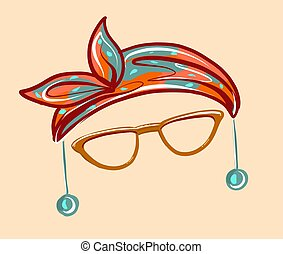 Accessory for the face. Fashionable headscarf and stylish ...
